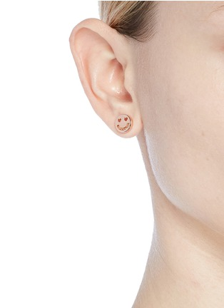 Figure View - Click To Enlarge - Ruifier - 'Smitten' 18k rose gold vermeil stud earrings