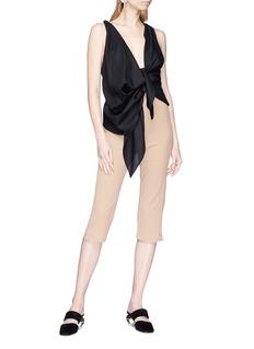 Jacquemus 'Bahia' ruched sash drape front sleeveless hopsack top