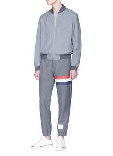 Thom Browne Stripe mesh panel wool jogging pants