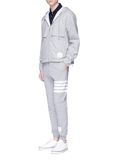 Thom Browne Mesh stripe trim wool zip hoodie