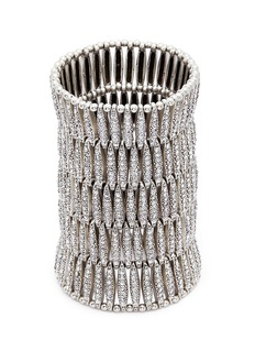 Philippe Audibert 'Almond' Swarovski crystal five row plate elastic bracelet
