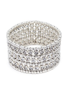 Philippe Audibert 'Asea' Swarovski crystal three row plate elastic bracelet