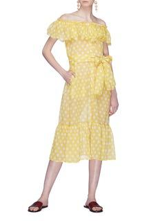 Lisa Marie Fernandez 'Mira' ruffle polka dot off-shoulder dress