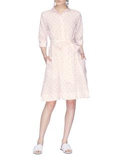Lisa Marie Fernandez Polka dot print belted linen shirt dress
