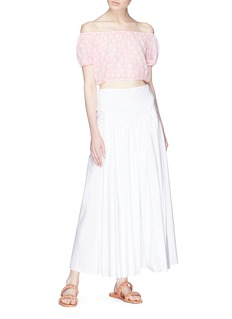 Lisa Marie Fernandez 'Leandra' polka dot print off-shoulder cropped top