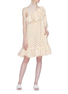 Lisa Marie Fernandez 'Arden' ruffle polka dot print one-shoulder mini dress