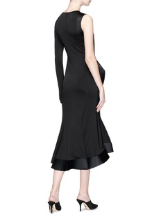 Esteban Cortazar 'Contrast Peplum' asymmetric bonded cady panel satin dress