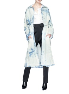 Esteban Cortazar Belted tie-dye denim trench coat