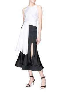 Esteban Cortazar 'Contrast Circle' bonded cady panel satin split skirt