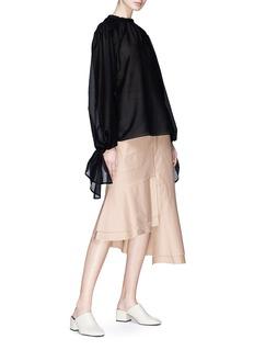 Par Minou Raw edge asymmetric satin skirt