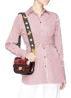 Venna Cubic zirconia star flamingo studded guitar strap