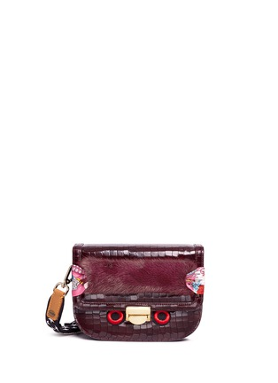 Main View - Click To Enlarge - Venna - Eye patch faux fur panel leather crossbody bag