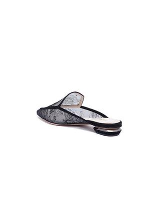 Detail View - Click To Enlarge - Nicholas Kirkwood - 'Beya' metal heel floral lace loafer mules