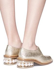 Nicholas Kirkwood 'Casati' faux pearl heel crinkled leather Derbies