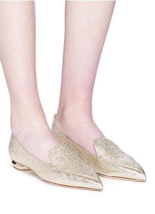 Figure View - Click To Enlarge - Nicholas Kirkwood - 'Beya' metal heel leather skimmer loafers