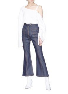 Ellery 'Hemisphere' topstitch cropped flared jeans