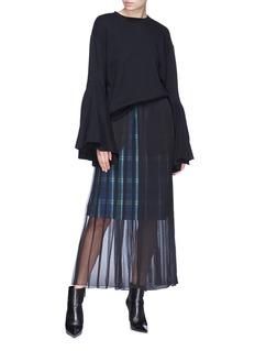 FACETASM Layered check plaid skirt