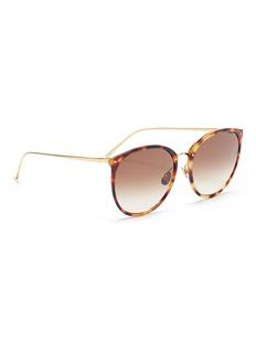 LINDA FARROW VINTAGE Tortoiseshell acetate front metal round sunglasses