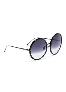 Linda Farrow Acetate front metal oversized round sunglasses