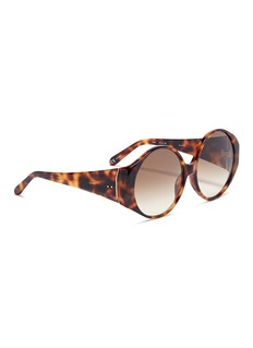 Linda Farrow Wide temple tortoiseshell acetate round sunglasses