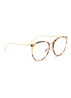 Linda Farrow Tortoiseshell acetate front metal round optical glasses