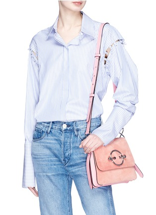 Figure View - Click To Enlarge - JW Anderson - 'Disc' leather and suede shoulder bag