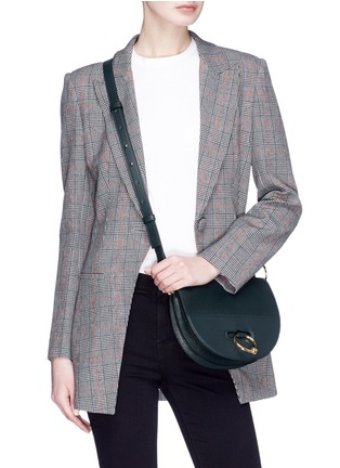 Figure View - Click To Enlarge - JW Anderson - Latch flap barbell ring leather shoulder bag