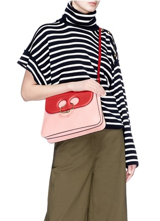 Front View - Click To Enlarge - JW Anderson - 'Pierce' colourblock barbell ring medium leather shoulder bag