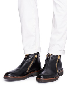 Giuseppe Zanotti Design 'Austin' double zip calfskin leather boots