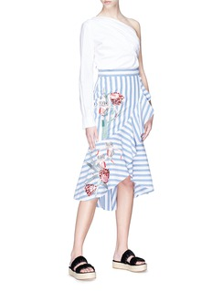 Temperley London 'Bella' floral embroidered ruffle stripe skirt