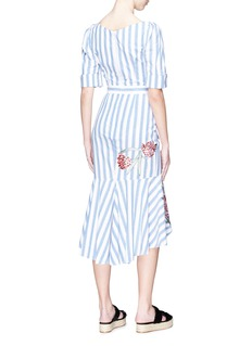 Temperley London 'Bella' floral embroidered ruffle stripe dress