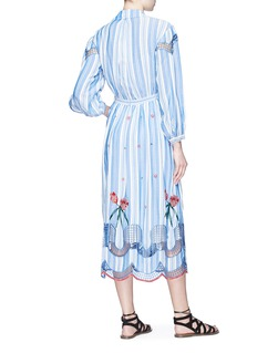 Temperley London 'Trelliage' cutout floral embroidered stripe shirt dress