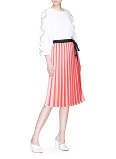 Tome Tie stripe pleated georgette wrap skirt