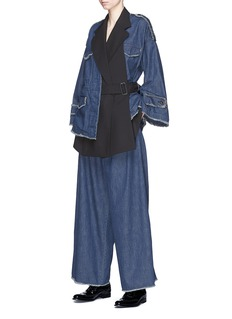 The Keiji Belted layered denim culottes