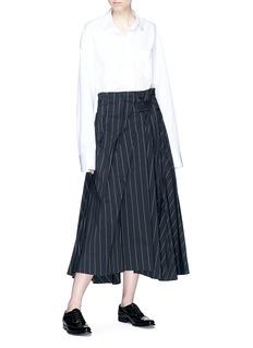 The Keiji 褶裥条纹A字半裙