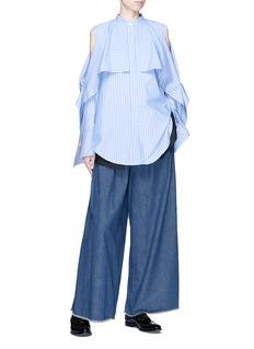 The Keiji Ruffle cold shoulder stripe shirt