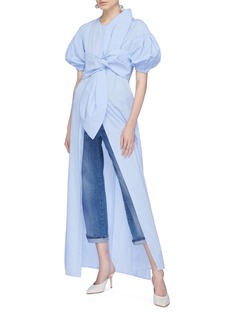 Leal Daccarett 'Hada' puff sleeve bow tie poplin dress