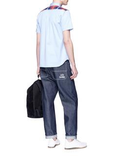 Comme Des Garçons Shirt Tartan panel short sleeve shirt