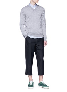 Comme Des Garçons Shirt Contrast stitch wool V-neck sweater