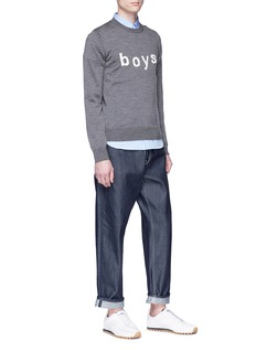 Comme Des Garçons Shirt 'Boys' embroidered wool sweater