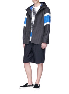 Comme Des Garçons Homme Colourblock panel pinstripe hooded canvas parka