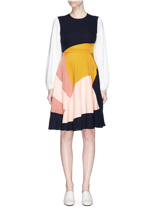 Main View - Click To Enlarge - Roksanda - Bell sleeve colourblock silk georgette dress