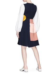 Roksanda Bell sleeve colourblock silk georgette dress