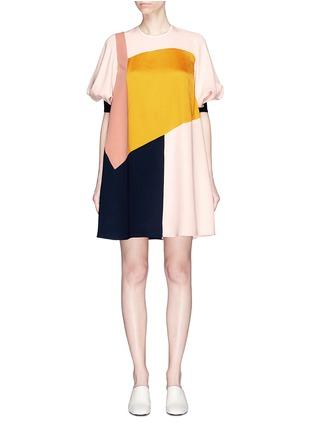 Main View - Click To Enlarge - Roksanda - Bell sleeve colourblock silk georgette shift dress