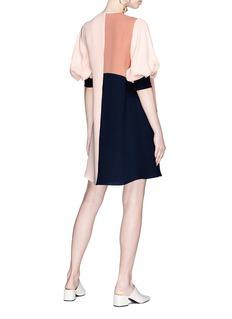 Roksanda Bell sleeve colourblock silk georgette shift dress
