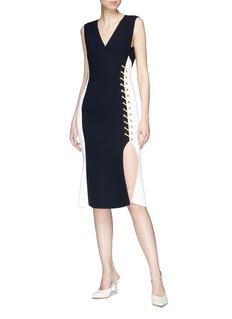 Comme Moi Lace-up colourblock side split dress