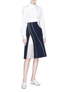 Comme Moi Pleated panel A-line midi suiting skirt