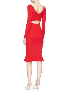 Comme Moi Cutout back fluted rib knit dress