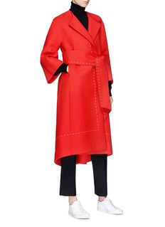 Comme Moi Belted wool blend melton coat