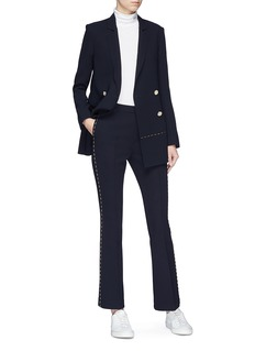 Comme Moi Topstitch outseam flared suiting pants